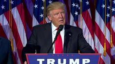 Donald Trump addresses supporters at his election headquarters in New York early Wednesday morning, saying that he received a congratulatory call from his rival, Hillary Clinton.