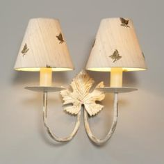 Double Leaf Wall Light in Old Ivory made by Jim Lawrence