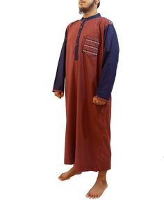 Jubah Muslim Pria – Gamis Pria Modern Samase Merah Maroon-Biru Lengan Panjang Kerah Shanghai