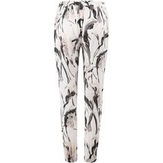 Yoins Vintage Floral Trousers (€16) ❤ liked on Polyvore featuring pants, white trousers, vintage trousers, floral pants, flower print pants and floral printed pants