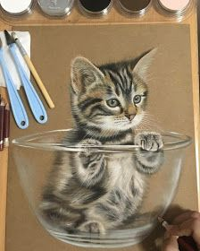 Kitty in a Bowl. Animals Translated to Realistic Drawings. By Ivan Hoo. Animal Drawings, Pencil Drawings, My Drawings, Pastel Drawing, Pastel Art, Realistic Face Drawing, Crayons Pastel, Kitten Drawing, Colored Pencil Artwork