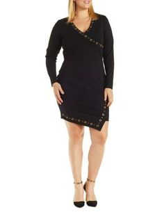 Plus Size Grommet Embellished Bodycon Dress