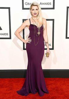 Bonnie McKee in eggplant gown
