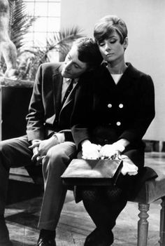 A tired Peter O'Toole and Audrey Hepburn on the set of How to Steal a Million in Paris, France, 1965.