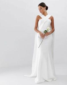 9e7ef5f31d3 ASOS EDITION cross front cape wedding dress Wedding Dress Trends