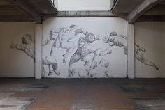 Aggravure III: A Mural Using 450,000 Staples. Baptiste Debombourg