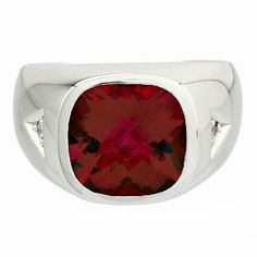 Diamond and Antique Cushion Cut Garnet Men's White Gold Ring Available Exclusively at Gemologica.com