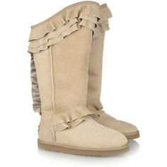Australia Luxe Collective Whitechap ruffled shearing boots ($245) ❤ liked on Polyvore