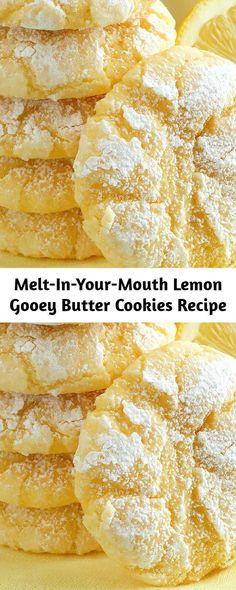 Gooey Butter Cookies, Butter Cookies Recipe, Lemon Cookies, Cookie Recipes, Dessert Recipes, Desserts, Standard Recipe, Cookies Ingredients, Pretty Cakes