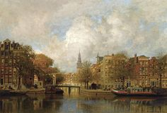 Johannes Christiaan Karel Klinkenberg. A view of the Groenburgwal with the Zuiderkerk, seen from the River Amstel, Amsterdam