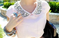 summer neutrals and an embellished collar {love this look}