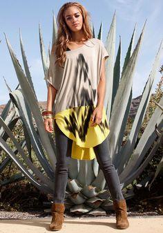 Cooles Colorblocking Longshirt Angenehme, leichte Sommerware Die trendige Form ist hinten länger als vorne Gut kombinierbar zu Jeggings