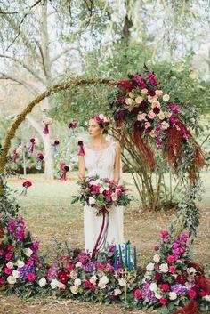 Vibrant Circular Floral Arch, Rustic Wedding Floral Arch, Outdoor Ceremony Ideas | ElegantWedding.ca #weddingceremony