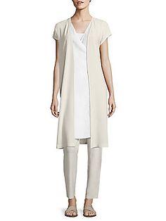 Eileen Fisher Silk Georgette Long Jacket