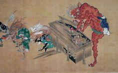 『百鬼夜行絵巻』赤鬼が古道具の入った箱を打ち壊している。