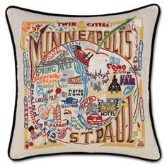 MINNEAPOLIS-ST. PAUL HAND-EMBROIDERED PILLOW