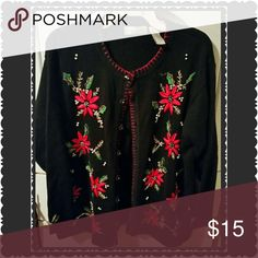 Embellished Poinsetta xmas sweater/NWOT  x large Embellished Poinsetta christmas sweater by Victor jones. Detailed with pearls and beading. Absolutely beautiful Victoria Jones  Sweaters Cardigans
