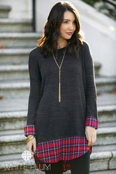 Jamie Plaid Cuffed Sweater Tunic! S-XL Sizing! | Jane