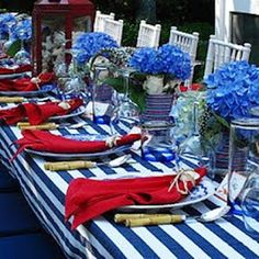 Festive Of July Tables From Memorial Day Thru Labor Patriotic Party Ideas For Recipes Tablescapes And Other Details Are Always Fun To See