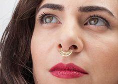 Indian Septum Piercing Septum Ring Gold Large Septum by StudioMeme Septum Jewelry, Septum Ring, Ear Jewelry, Tribal Jewelry, Boho Jewelry, Indian Jewelry, Ear Piercings, Jewelry Collection, Gold Rings
