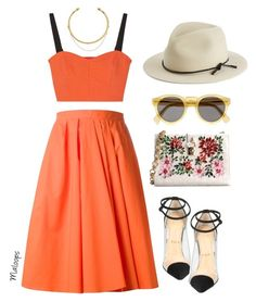 """~'Cause I see sparks fly whenever you smile~"" by maloops ❤ liked on Polyvore featuring Carven, Milly, Christian Louboutin, Dolce&Gabbana, OBEY Clothing, Illesteva, rag & bone, orange, girly and CasualChic"