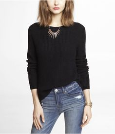 SIDE SLIT SHAKER KNIT SWEATER | Express