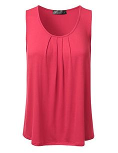 DRESSIS Women's Basic Soft Pleated Scoop Neck Sleeveless Loose Fit Tank Top S to 3XL >>> Click here for more details @