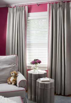 Suzie: Liz Carroll Interiors - Chic pink and gray nursery design with Peony pink walls paint .like the BM paint color listed on the site. Pink Bedroom Decor, Master Bedroom Interior, Pink Bedrooms, Girls Bedroom, Grey Girls Rooms, Big Girl Rooms, Grey Room, Kids Rooms, Pink And Gray Nursery