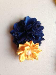 New to LaBellaRoseBoutique on Etsy: Navy mustard clip -Navy Mesh Flower yellow Satin Flower with pearl on Clip flower girl wedding baby toddler child teen women birthday (5.00 USD)
