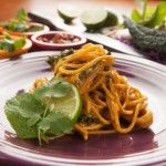 Brown Rice Noodles with Peanut Sauce and Kale