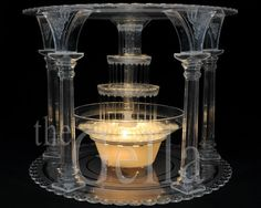 CLEAR 5 COLUMN WEDDING/PARTY SEPARATOR CAKE STAND with FOUNTAIN SET