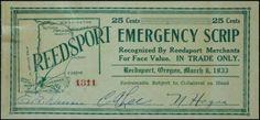 Emergency Scrip - Reedsport OR, 1933 Southern Oregon Coast, Sheer Curtains