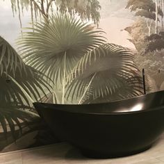 Badkamer, wallpaper, interieur design Nanne Schuiveling, interieur, green, planten