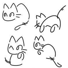 4 cats drawed by Japanese Kana
