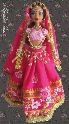 My Little Gopi dolls are regular dolls, transformed into gopis (cow-herd girls), inspired by the cow-herd queens and princesses of ancient India. This is a My Scene doll.