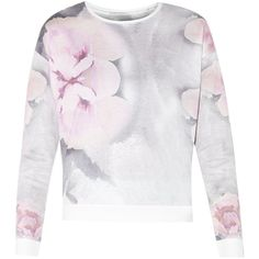 Grey Long Sleeve Abstract Floral Print Contrast Trim Sweater (£9) ❤ liked on Polyvore featuring tops, sweaters, grey sweater, floral sweater, grey long sleeve sweater, floral top and long sleeve tops