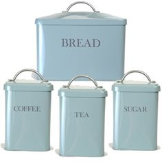 Designed To Provide An Inspired Touch Any Kitchen We Have Teamed Our Ever Por Bread Bin With Tea Coffee And Sugar Canisters In Shutter Blue