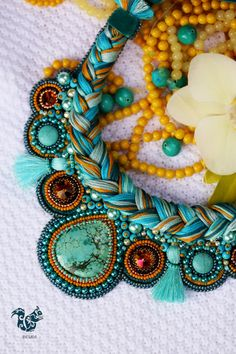Collar neck ras Turquoise embroidered with fine and rockery stones beads Japanese - pinned by pin4etsy.com