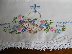 Sweet Pair of Vintage Embroidered Pillowcases Basket of Flowers Crocheted Lace Vintage Embroidery, Embroidery Applique, Vintage Sewing, Embroidery Patterns, Lazy Daisy Stitch, Embroidered Pillowcases, Crocheted Lace, Embroidery Transfers, Flower Basket