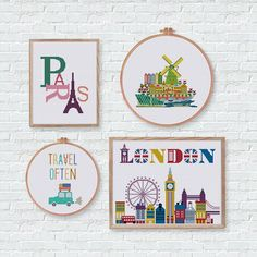 Simple and cute cross stitch pattern of travel car, London, Paris, and Amsterdam