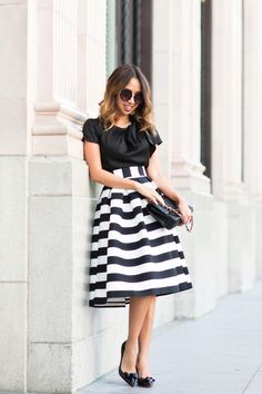 Striped Midi Skirt DETAILSPhotography – Jason HuangStriped Midi Skirt – ASOS – size 00P (runs true to size). Also find the non-petite version HERE , Top – Old Ann Taylor – find similar HERE and HERE., Bow Pumps – Ann Taylor. Find designer versions HERE , Sunglasses – NordstromHandbag – Chanel find similar version HERE Fashion Look by Lace And Locks