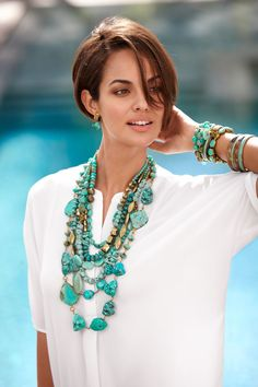 Turquoise Jewelry with pain bright white shirt & jazz you up while still giving you that put together look! Pair it with right jeans, sandals, & bag!