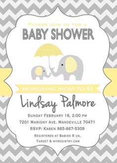Elephant Baby Shower Invitation / Yellow Grey by SweetProvidence, $10.00