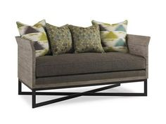 """Shop+for+Caracole+Natural+Attraction,+UPH-SETTEE-07A,+and+other+Living+Room+Settees+at+Marty+Mason+Collected+Home+in+Atlanta,+GA.+Rustic+materials+in+this+wood+paneled+settee+are+transformed+into+a+sophisticated+but+still+casual+look,+anchored+by+the+matte+black+metal+""""X""""+base."""