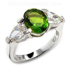 Sterling Silver Peridot CZ Ring  #fashionjewelry #peridot