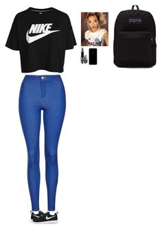 """"" by wildcalifornia2016 ❤ liked on Polyvore featuring Topshop, NIKE, MAC Cosmetics and JanSport"