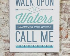 "Vintage Typography Poster Print - Hillsong United ""Oceans (Where Feet May Fail)"" Worship Song"