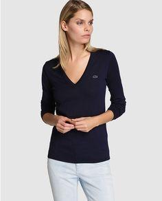 Jersey básico de mujer Lacoste con escote de pico