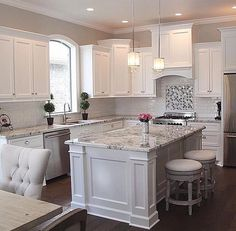 White Kitchen Ideas - White never falls short to give a kitchen layout an ageless appearance. These trendy kitchen areas, including whatever from white kitchen cupboards to smooth white . Kitchen Cabinets Decor, Kitchen Cabinet Design, Kitchen Redo, Kitchen Interior, Kitchen Dining, Kitchen Ideas, Kitchen Countertops, Grey Cabinets, Marble Countertops