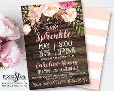 Floral Baby Sprinkle Invitation, Floral Baby Shower Invitation, Pink Flowers Rustic Invite, Shabby Chic Girl Shower, Vintage Rose and Peony by shopPIXELSTIX on Etsy